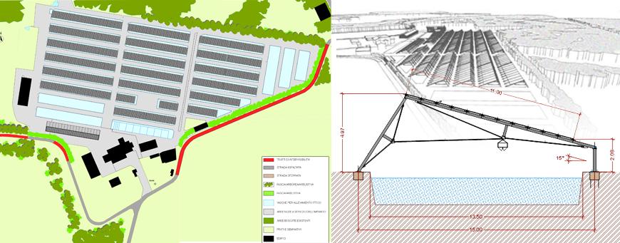 Impianto fotovoltaico multifunzionale su vasche per allevamento ittico - Marano Ticino (NO)
